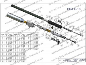 Bsa R10 R 10 R10 Mk2 Mk1 Air Rifle Spare Parts List on land site