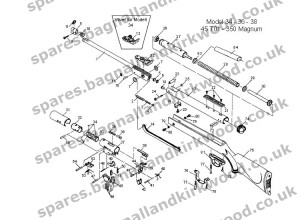 Diana Original RWS mod 34 36 38 45 T01 350 Magnum Exploded Parts Diagram