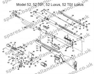 Diana Original RWS mod 52 Exploded Parts Diagram
