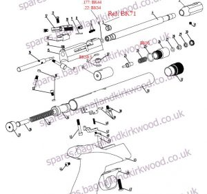 SMK CP1 Air Pistol Exploded Parts List Diagram