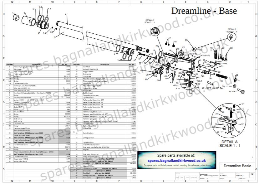 FX Dreamline Air Rifle Exploded Parts Sheet Diagram O