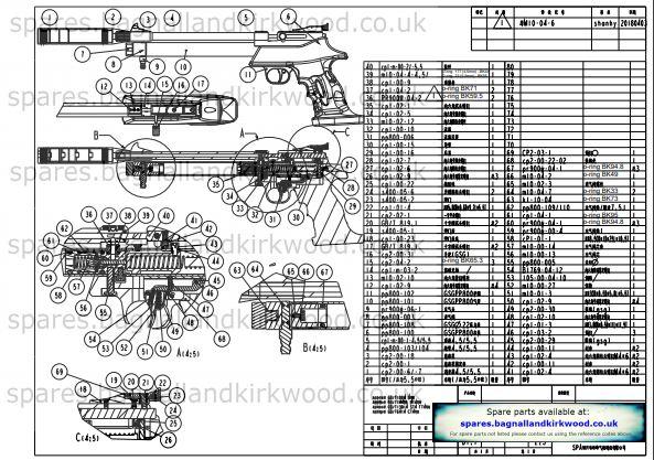 Artemis PP800 Air Pistol Exploded Parts List Diagram