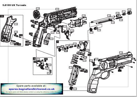 Tornado Air Pistol Exploded Parts List Diagram A